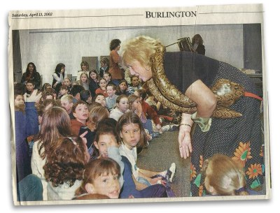 Visiting students and parents at the Burlington Library.